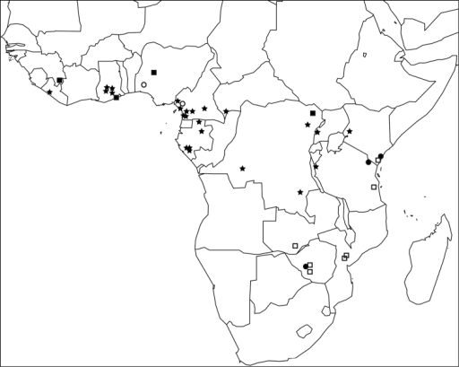 Map of sub-Saharan Africa showing the known distribution ranges of the five members of the Tetramorium decem species group: Tetramorium decem (filled circle), Tetramorium raptor (empty circle), Tetramorium uelense (filled square), Tetramorium ultor (empty square), and Tetramorium venator (star).
