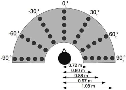 Experimental setup. θt indicates the source position in the subjects head coordinate system.