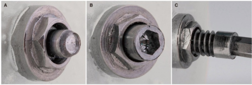 Details of prototype screw design. (A) Control screw fragment after fracture. (B) Prototype 5 screw fragment after fracture. (C) A 1.25 mm screwdriver inserted into the socket head cap of the fractured Prototype 5 screw fragment.
