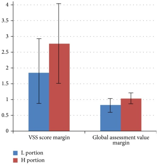 VSS score and global assessment value margins of the two scar portions in each patient. Data are expressed in mean ± standard deviation (p < 0.05).