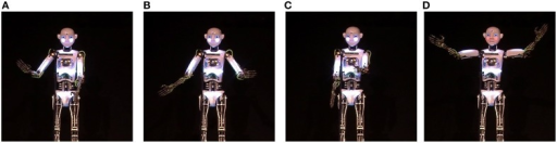 "Performative Gestures used during the live performance. (A) ""Welcome"" gesture, (B) Reprise ""I said hello"" gesture, (C) Pointing gesture, (D) Applause elicitation gesture."