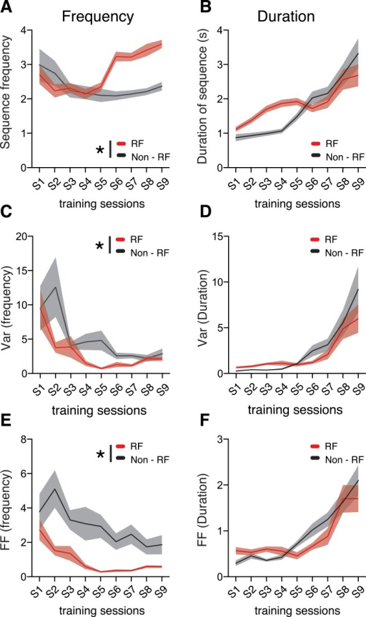 Behavior variability is differentially modulated during training.(A, B) Comparison of frequency and duration between reinforced (RF) and non-reinforced (Non-RF) sequences. (C, D) Variance and (E, F) variability, measured as the Fano factor, for reinforced and non-reinforced sequences. Black lines correspond to mean values for non-reinforced sequences. Red lines correspond to mean values for reinforced sequences. Shaded areas correspond to mean ± SEM.DOI:http://dx.doi.org/10.7554/eLife.09423.008