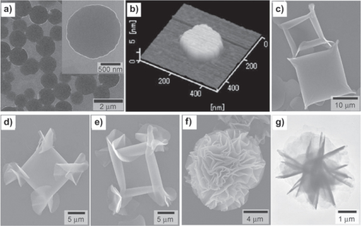 SEM (a) and atomic force microscopy (AFM) (b) images of nanodisks formed by cooling a 1,4-dioxane solution of 1a from 60 °C to 20 °C. SEM (c) image of square-shaped objects loosely rolled up in each corner formed by rapid cooling of 1,4-dioxane solution of 1a from 60 °C to 5 °C. SEM images (d), (e) of the further rolled up objects of crumpled structures at the four corners. SEM (f) and TEM (g) images of final flower-shaped assemblies of 1a precipitated by slow aging at 5 °C. Reprinted with permission from T Nakanishi et al 2007 Small3 2019, © 2007 John Wiley & Sons.