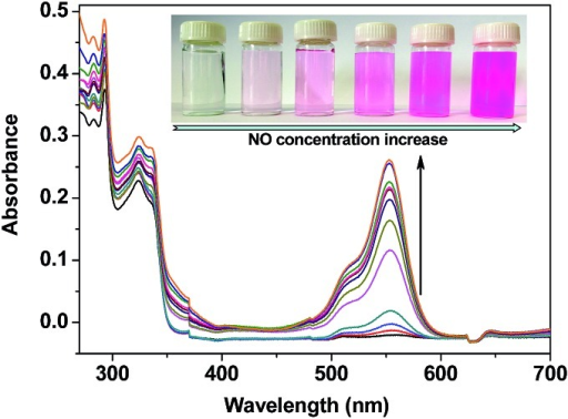 UV-vis absorption spectrum changes of TRP-NO (15 μM) after reaction with different concentrations of NO (0, 5, 10, 20, 40, 80, 120, 160, 200, 240, 320, 400 μM) in 0.05 M PBS buffer of pH 7.4 for 50 min (the inserted photographs show colors of the solutions under visible light).