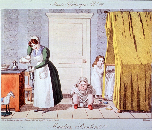 <p>Interior scene in a bedroom; a woman is filling a clyster; a child is sitting on a chamber pot and another child, with a look of concern on her face, appears to be attempting to hide behind the bed.</p>