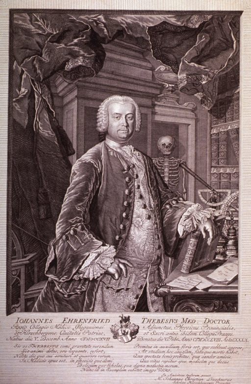 <p>Three quarter length; right pose; white wig; one hand on hip, other on book.   Ornate setting; books; heavy curtains; scientific instruments; skeleton.  Coat-of-arms.</p>