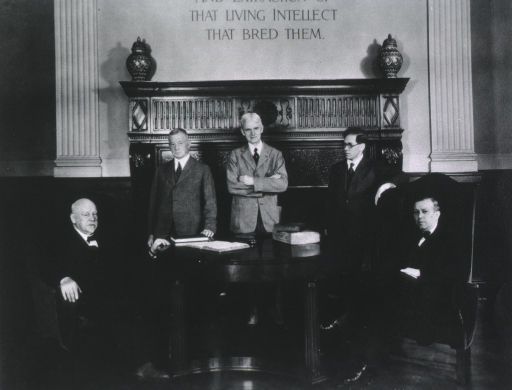 <p>Group portrait: left to right, William Henry  Welch (seated), Fielding Hudson Garrison, John Rathbone Oliver, Oswei Temkin, and Henry E. Sigerest (seated).</p>