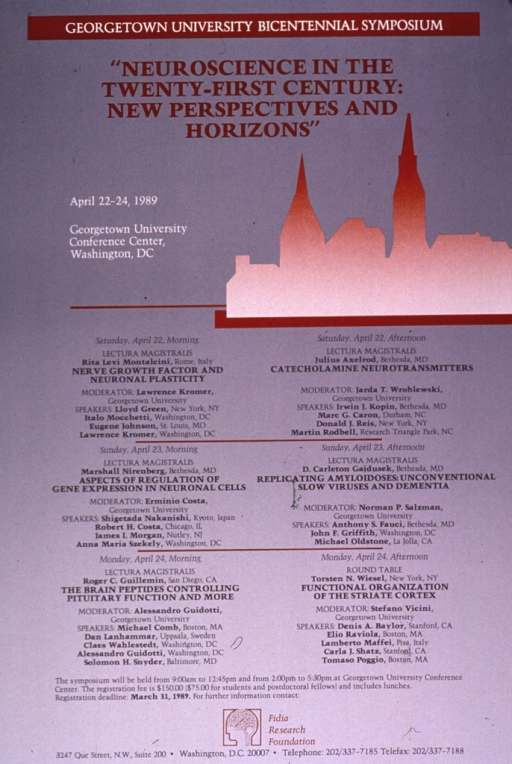 <p>Predominantly gray poster with multicolor lettering announcing a symposium held Apr. 1989.  Symposium information at top of poster.  Title below, along with a silhouette of the skyline of Georgetown University.  List of lectures and round tables dominates poster.  Publisher information at bottom of poster.</p>