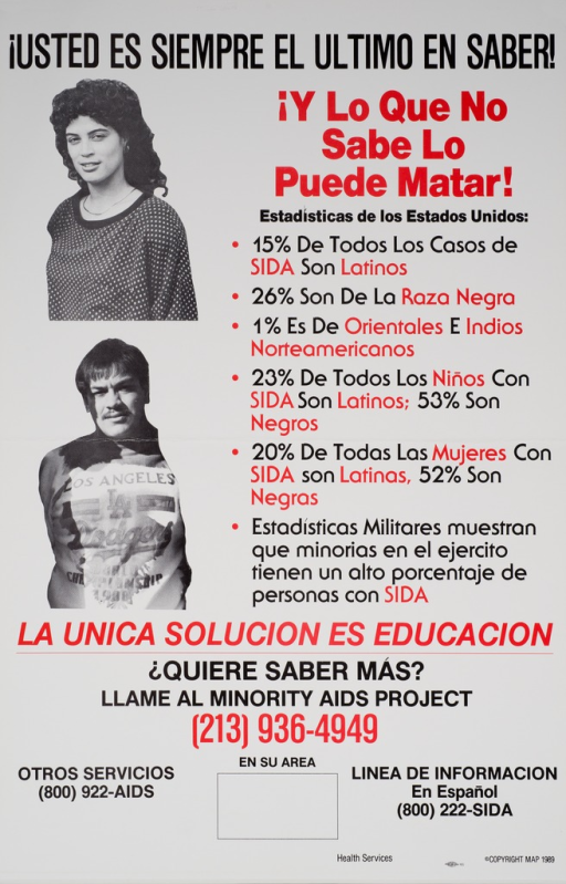 <p>White poster with black and red print and the visual along the left side. The visual consists of two black and white photo reproductions, one above the other. The top photo shows a young Latin American woman, and the bottom one shows a young Latin American man. The text gives United States AIDS statistics as related to the Latin American community.</p>