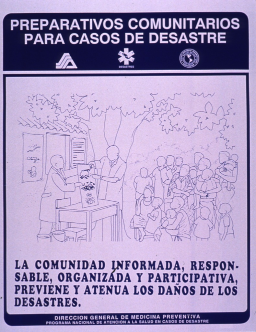 <p>Blue and white poster.  Series statement at top of poster.  Visual image is a line drawing of a community meeting being held outdoors; adults and children listen to a presentation.  Title below illustration.  Publisher information at bottom of poster.</p>