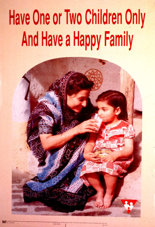 <p>Light tan poster with maroon and black lettering.  Title at top of poster.  Visual image is a color photo reproduction showing a mother helping her young daughter take a drink of milk.  Publisher information at bottom of poster.</p>