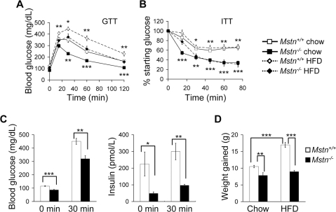 Mstn−/− mice have increased insulin sensitivity and reduced weight gain on  standard chow