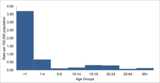 Annualized age-specific incidence for serogroup B IMDa, Ontario, Canada, 2000–2010 (N = 257). Annualized age-specific incidence per 100,000 population for serogroup B invasive meningococcal disease (IMD) in Ontario, Canada, for 2000 to 2010. aTwo serogroup B IMD cases were excluded from analysis because of missing age information.