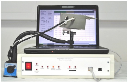 The surgical robot drilling system used in cochleostomy supported on a fixed flexilock arm.