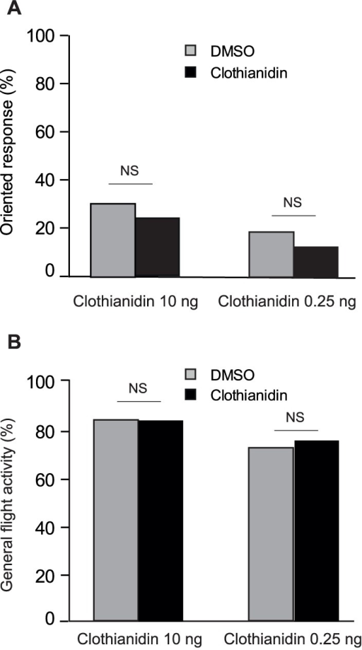 Effect of the 10-ng and 0.25-ng low doses of clothianidin on oriented responses (A) and general flight activity (B) of A. ipsilon males in presence of a linden flower extract.Responses to the linden flower extract were not significantly different between clothianidin- and DMSO-treated males for both 0.25 ng and 10 ng clothianidin. N>50 for all groups, G-test, P<0.05.