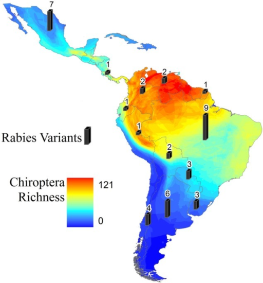 Bat richness showing the number of bat species (rabies positive or not)present in Latin America (colored shading) and number of antigenic variants ofbat rabies reported (gray bars).