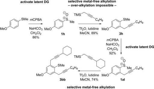 A safety-catch directing group for metal-free propargylation. DG=directing group.
