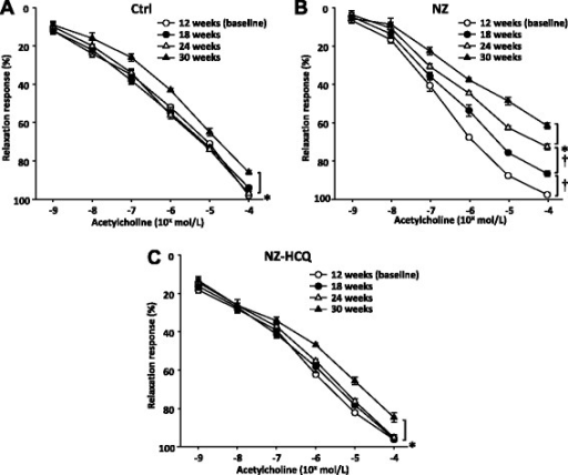 Relaxations in response to acetylcholine in mesenteric arteries at baseline and different time points in control mice (a), NZB/W F1 mice (NZ) (b) or NZB/W F1 mice treated with hydroxychloroquine (NZ-HCQ) (c). Each point represents the mean ± SEM of eight experiments. *P < 0.05; †P < 0.01