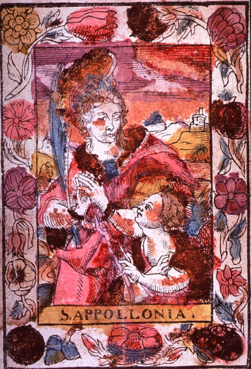 <p>Exterior scene: three-quarter length, standing, left pose, full face; holding palm frond; hands bound, but bonds being cut by a cherub; floral border.</p>