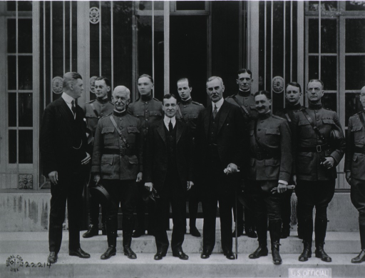 <p>Secretary Baker with Major Gen. Gorgas, Major Gen. Ireland, and others in Paris, France.</p>