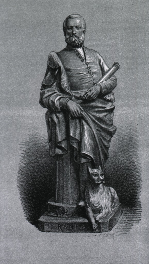 <p>Statue, full length, standing, full face; showing dog at base of statue.</p>