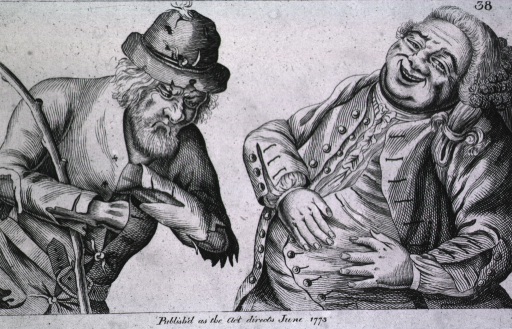 <p>Two men, one lean and ragged, the other plump and jolly.</p>