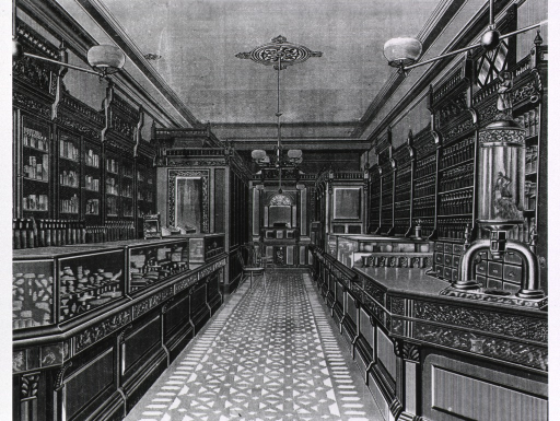 <p>Typical drugstore of the 1880's (advertising Bang's Sectional Store Fixtures).</p>