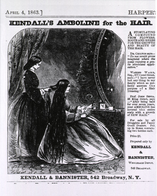 <p>Kendall's Amboline for the hair.  Advertisement with illustration of woman with very long hair.</p>