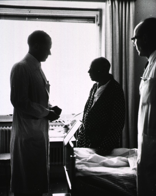 <p>Interior view: patient and physician are standing at bedside; another physician is standing to the right.</p>