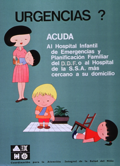 <p>Green poster with black and white lettering.  Title at top of poster.  Visual images are illustrations of emergencies.  Near upper left, a mother holds a child who is presumably sick; near center, a boy has a broken arm; near lower right, a girl has fallen off a chair.  Caption, below title, urges that in an emergency, go to the hospital nearest home.  Logos for health agencies in lower left corner.</p>