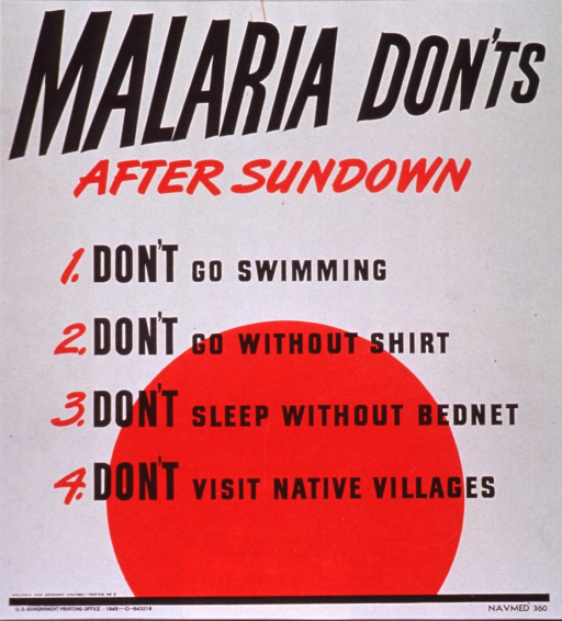<p>White poster with black and red lettering.  Title at top of poster. Visual image is a partial red circle, suggestive of a setting sun.  Four warnings appear below title and partially superimposed on circle: don't go swimming, don't go without a shirt, don't sleep without a bednet, don't visit native villages.  Publisher information at bottom of poster.</p>