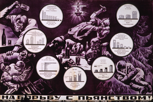 <p>Predominantly purple poster with black lettering.  All text in Cyrillic script.  Visual images are illustrations of a man getting ready to hit his wife with a bottle as she shields a child, men sitting at a table playing cards and drinking as a knife fight takes place in the background, and a man sleeping outdoors in the snow.  Several graphs depicting alcohol-related statistics are scattered among these illustrations.  Title and publisher information at bottom of poster.</p>