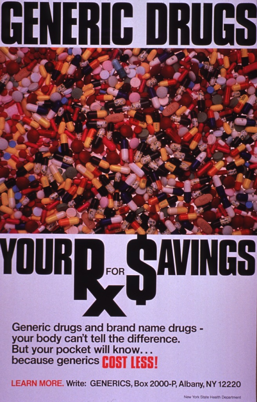 <p>Predominantly white poster with black and red lettering.  Initial title phrase at top of poster.  Visual image is a color photo reproduction showing a colorful array of pills and capsules.  Remaining title text below photo.  Caption below title.  Publisher information at bottom of poster.</p>