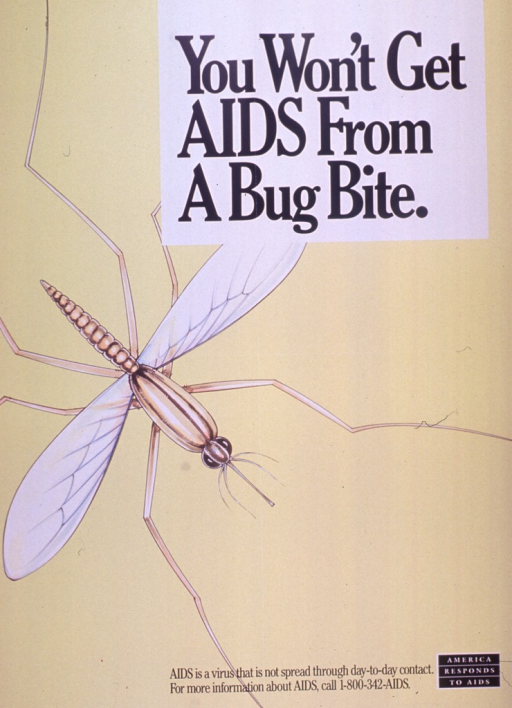 <p>Predominantly yellow-green poster with black lettering.  Title in upper left corner.  Visual image is an illustration of a giant mosquito.  Caption and note at bottom of poster.</p>