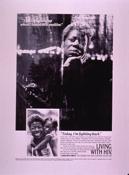 <p>Predominantly white poster with white and black lettering.  Initial title phrase near upper left corner.  Visual images are b&amp;w photo reproductions featuring a woman leaning against a fence and the same woman smiling and being embraced by a young girl.  Remaining title phrase, caption, and note near lower right corner.  Sponsor and publisher information at bottom of poster.</p>
