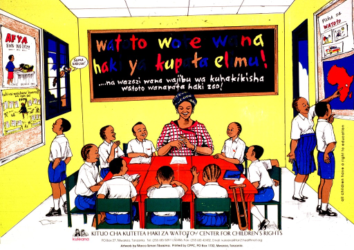 <p>Multicolor poster.  Poster features an illustration of a classroom.  The title appears on the blackboard, near the top of the poster.  Eight children sit at desks with their teacher.  Three children look at bulletin boards on both sides of the room.  The children are equally girls and boys.  A bird perches on the window and speaks the note text, which means &quot;totally equal.&quot;  Publisher information at bottom of poster.</p>