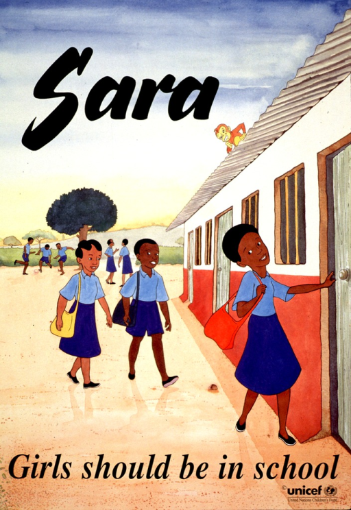 <p>Multicolor poster with black lettering.  Initial title word near top of poster.  Visual image is an illustration of a girl entering a school.  Two other children follow closely behind.  Another group of children play soccer and talk in the background.  Remaining title text near bottom of poster.  Publisher information in lower right corner.</p>