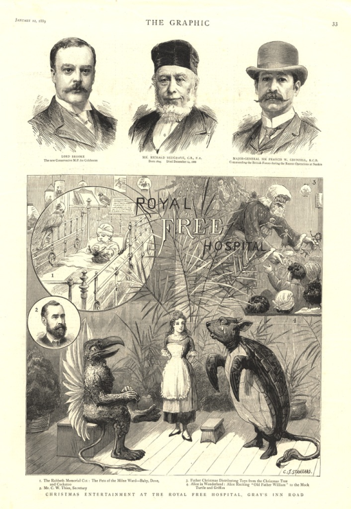 <p>Three pendant illustrations of various aspects of the hospital and the holiday surround and overlay the central image of Alice reciting before the Mock Turtle and the Griffon.</p>