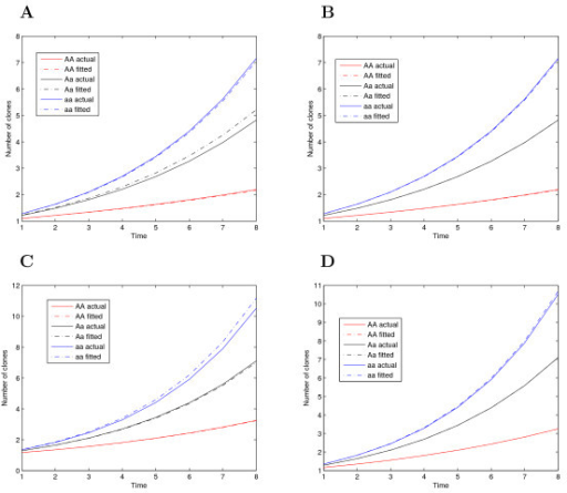 Curves for the number of cancer clones changing with age, determined by three different QTL genotypes AA, Aa, and aa, using given parameter values (solid) and estimated values (broken) with different heritabilities (H2) for a sample size of n = 400. (A) Group 1, H2 = 0.1, (B) Group 1, H2 = 0.4, (C) Group 2, H2 = 0.1, and (D) Group 2, H2 = 0.4.
