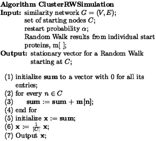 Random walk from a cluster algorithm. Pseudocode for the algorithm used to simulate a random walk with restarts from a cluster of vertices.