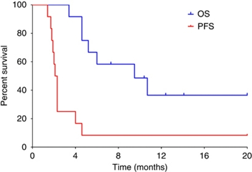 Kaplan–Meier curves of progression-free (red line) and overall survival (blue line) in the cohort of 12 sorafenib-resistant patients, enrolled in the triweekly schedule (n=5) or weekly schedule (n=7). Vertical ticks denote censored observations.