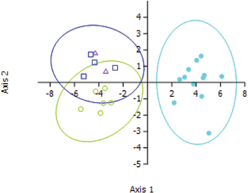 Ordination plot of the first two roots of the discriminant function analysis using seven characters. Ellipses represent 95% confidence regions. Light blue solid circles = Lucilia sericata, Green open circles = Lucilia cuprina, dark blue squares = introgressed hybrids, purple triangles = modern hybrids.