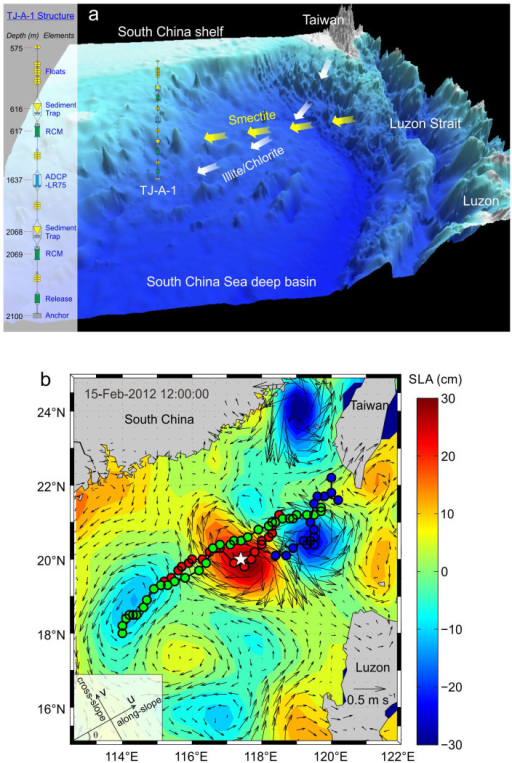 Seafloor topography and sea surface level anomaly in the northeastern South China Sea (SCS).(a) Seafloor topography showing the location of the TJ-A-1 mooring system and its vertical structure (left side). The three-dimensional topography map is created from the 30-arc-second resolution global topography/bathymetry grid (STRM30_PLUS)13 using Global Mapper 12. Two RCMs are equipped with probes for turbidity and temperature measurement (see Methods for more details of the mooring system). Potential sediment transport pathways of illite and chlorite derived from Taiwan and smectite originated from Luzon are also displayed14. (b) Map of sea level anomaly (SLA) with surface geostrophic current velocity (shown as black arrows) on 15 February 2012 when an anticyclonic eddy passed by the mooring site (white star). The map is generated through combining SLA and surface geostrophic current velocity data distributed by AVISO (http://www.aviso.oceanobs.com) using Matlab R2010b. Centroidal tracks of three eddies from birth until death, marked every 3 days (circles), are superimposed on the map. Red and blue circles stand for an anticyclonic and a cyclonic eddy born in November 2011, respectively; green circles represent an anticyclonic eddy born in November 2012. The inset figure in the lower part of (b) shows the u (along-slope) and v (cross-slope) coordinates (see Methods for detailed descriptions).