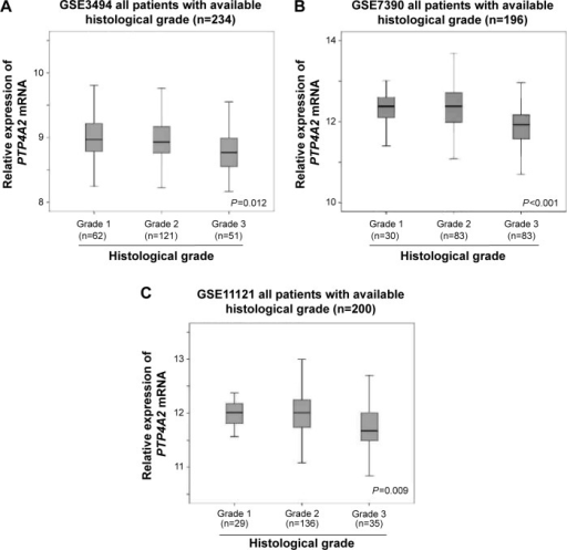The association between PTP4A2 expression and histological grading.Notes: Box plots of PTP4A2 expression in tumors with different histological grades in (A) GSE3494, (B) GSE7390, and (C) GSE11121 breast cancer data sets.Abbreviation:PTP4A2, protein tyrosine phosphatase 4A2.