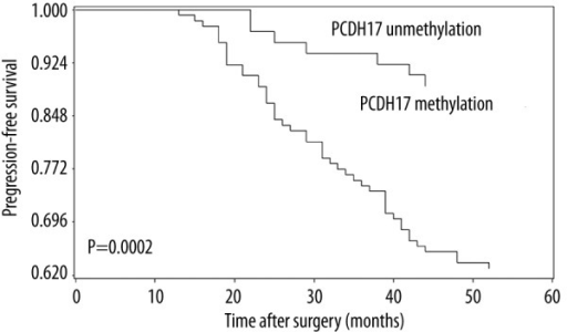 Correlation between PCDH17 methylation and progression-free survival in ccRCC patients. Patients with PCDH17 methylation showed significantly shorter progression-free survival than patients without (log-rank test, P=0.0002).