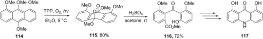 Synthesis of hydroxy-10H-acridin-9-one 117 from tetramethoxyanthracene 114.