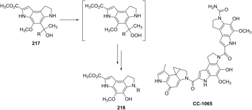The synthesis of moiety 218 from 217 which is a structural motif in the antitumor–antibiotic of CC-1065.