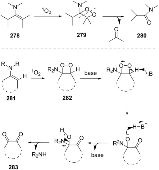 The Kornblum–DeLaMare rearrangement as one step in the oxidation reaction of enamines.