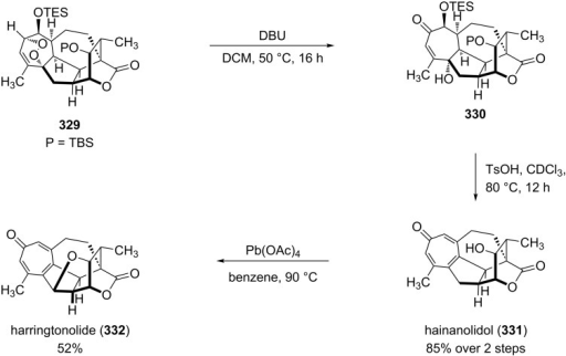 The synthesis of natural products hainanolidol (331) and harringtonolide (332) from peroxide 329.