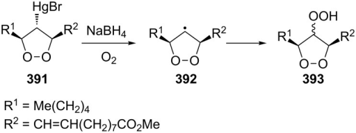 Trapping of dioxacyclopentyl radical 392 by oxygen.